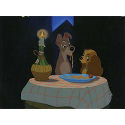 "Original production cel Lady and Tramp from the ""Bella Notte"" sequence of Lady and the Tramp"