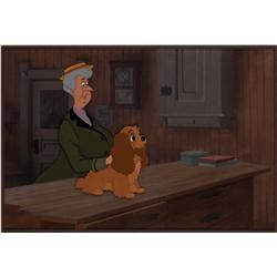 Lady and Aunt Sarah production cel on original background from Lady and the Tramp