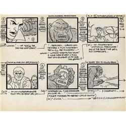 Alex Toth original production storyboard from Super Friends