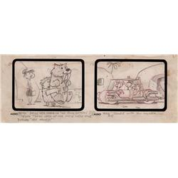 """The Flintstones """"The Snorkasauras Hunt"""" early storyboard drawing"""