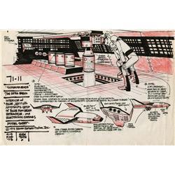 Alex Toth original production model sheet from Super Friends