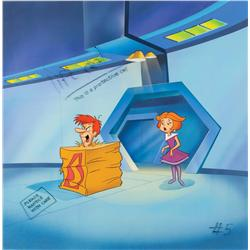 Original production cel and hand-painted background from Jetsons: The Movie