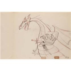 Original production drawing of Maleficent  as the dragon from Sleeping Beauty