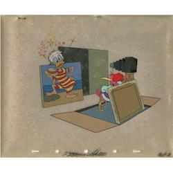 Donald Duck and Aracuan bird production cel setup from Clown of the Jungle