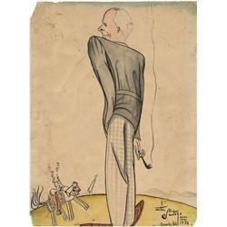 Original 1933 artwork caricature of Howard Hawks by Matias Santoyo