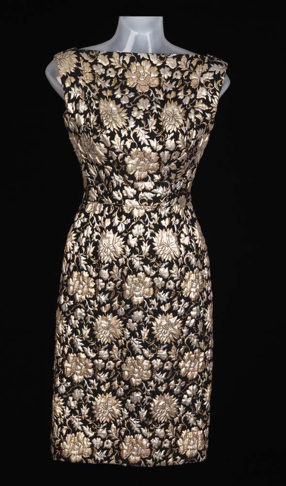 "653cc0dd698eb January Jones ""Betty Draper"" vintage Pat Sandler-designed black/gold floral  dress. Loading zoom"