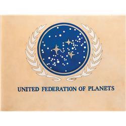 "Orig art & photolith separations fr ""United Federation of Planets"" Lincoln Enterprises window stkr"