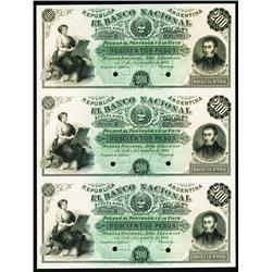 Banco Nacional, 1881 Issue Uncut Specimen Sheet of 3.