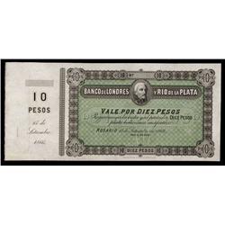 Banco De Londres y Rio de la Plata Specimen Banknote.