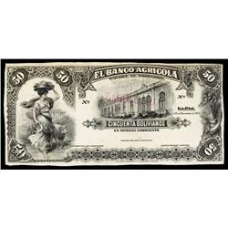 El Banco Agricola Uniface Trial Color Proof Banknotes.