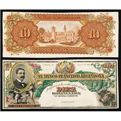 Banco Francisco Argandona 1893 Issue Hand Colored Proofs.