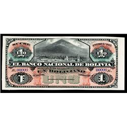El Banco Nacional De Bolivia 1877 Sucre Issue Proof Banknote.