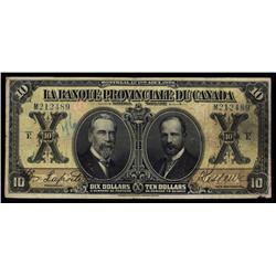 La Banque Provinciale Du Canada, $10, 1928 Issue.