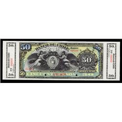 Banco De Chile, ND (ca.1896) Issue Specimen Banknote.