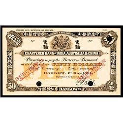 Chartered Bank of India, Australia & China, 1924 Issue Color Trial Specimen.