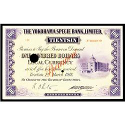 Yokohama Specie Bank, 1918 Tientsin Local Currency Specimen.