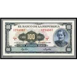 Banco De La Republica - Unique Essay Banknote Model of Proposed 1963 Issue Banknote.