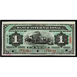 El Banco Internacional, 1884 Specimen.