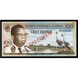 Banque Nationale Du Congo, 100 Francs, 1962 Issue Specimen.