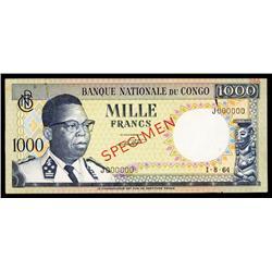Banque Nationale Du Congo, 1000 Francs, 1964 Issue Specimen.