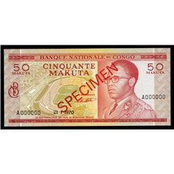 Banque Nationale Du Congo, 50 Makuta, 1970 Issue Specimen.
