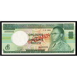 Banque Nationale Du Congo, 5 Zaires = 500 Makuta, 1968 Issue Specimen.