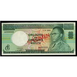 Banque Nationale Du Congo, 1968 Issue Specimen.