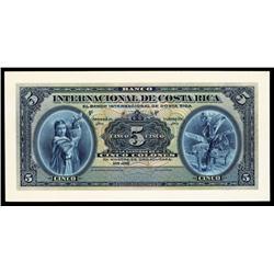 Banco Internacional De Costa Rica Proof Banknote.