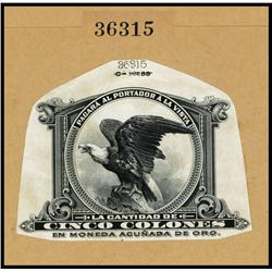 Banco Mercantil De Costa Rica, Proof Portrait of Screaming Eagle used on 1909-16 Issue.