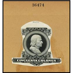 Republica De Costa Rica, Proof Portrait of Christopher Columbus used on ND 1917 Silver Certificate I