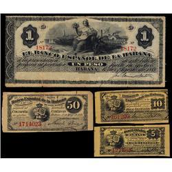 Banco Espanol De La Habana, 1872 Issue Quartet.