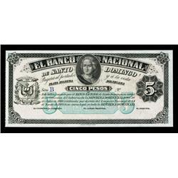 El Banco Nacional de Santo Domingo, Law of 1889 - 1912 Issue Specimen.