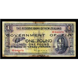 Government of Fiji ND 1942 Issue on 1934 Reserve Bank of New Zealand.