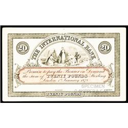 The International Bank, London, 1878 Proof Issue.