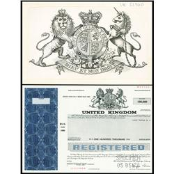 Government of the United Kingdom Registered Bond with Original Artwork by SC-USBNC.