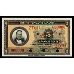 National Bank of Greece, 1923 Issue Specimen Banknote.