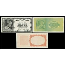 Bank of Greece, 1943 Inflation Issue Progress Back Proof Trio.