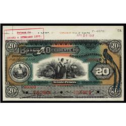 Banco de Occidente En Quezaltengo,1903-20 Issue Specimen.