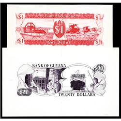 Bank of Guyana, 1966 ND Issue, Artist Back Proof Pair.