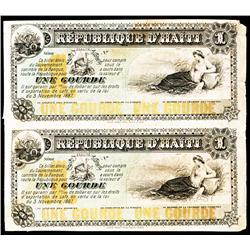 Republique D'Haiti, L.1887 Proof Pair.