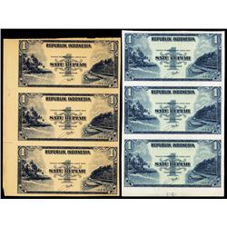 Republik Indonesia Proof and Specimen Sheets (6 notes).