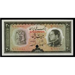 Bank Melli Iran, ND (1954) / SH1333 Color Trial Specimen.