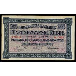 Darlehnskasse Ost, State Loan Bank East, 1916 Issue.