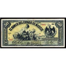 Banco Del Estado De Mexico, 1901-05 Issue.