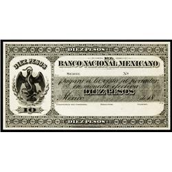 EL Banco Nacional Mexicano, 1882 Proof.