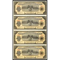 Ejercito Constitucionalista De Mexico, Decree of Feb. 12, 1914 Uncut Sheet of 4 Notes.