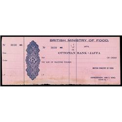 Ottoman Bank - Jaffa, British Ministry of Food Check.