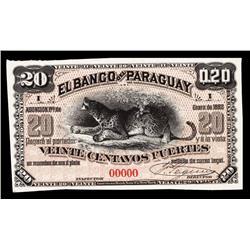 El Banco Del Paraguay, 1882 Issue Proof.
