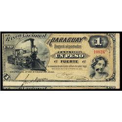 El Banco Nacional Del Paraguay, 1886 Issue.
