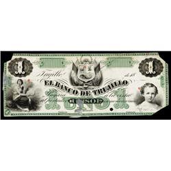 El Banco De Trujillo, 1872 Issue Color Trial Proof Banknote.